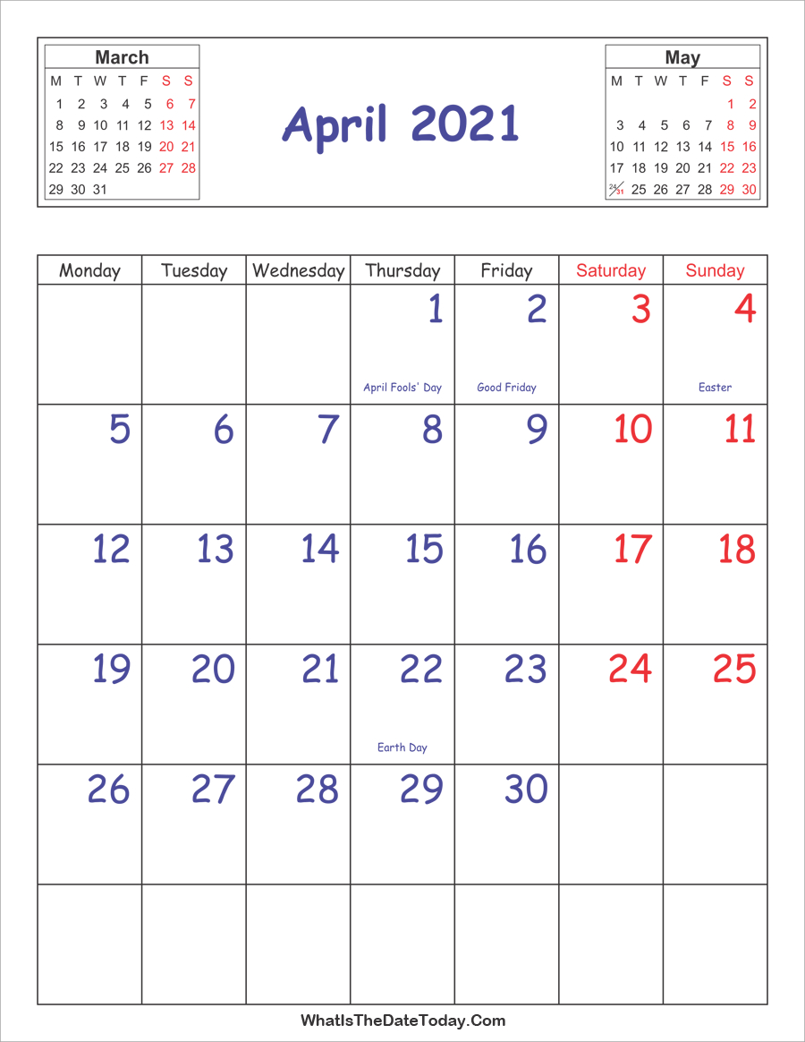 Printable 2021 Calendar April (Vertical Layout  2021 Tax Week Numbers