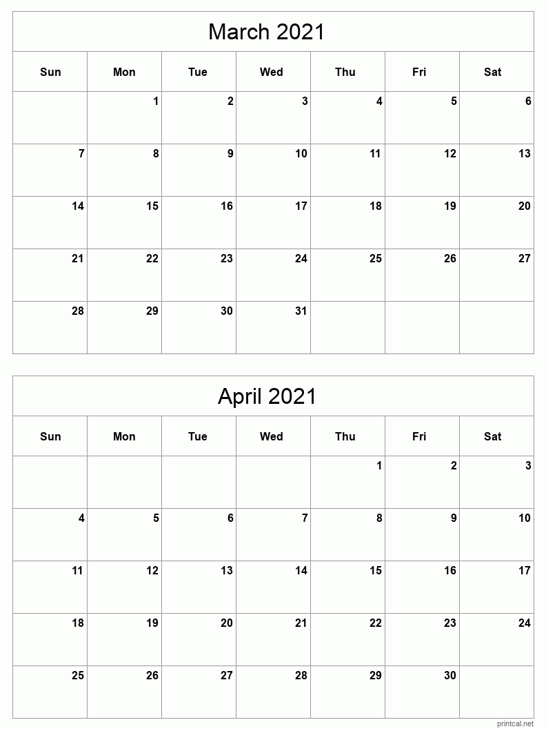 Printable 2021 Calendar - Two Months Per Page   Free  2021 Printable 3 Monthly Per Page Calendar