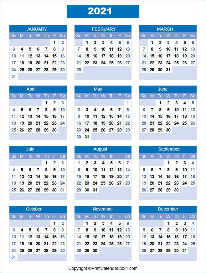 Printable 2021 Calendarmonth  Free Blank Printable Monthly Calendar 2021