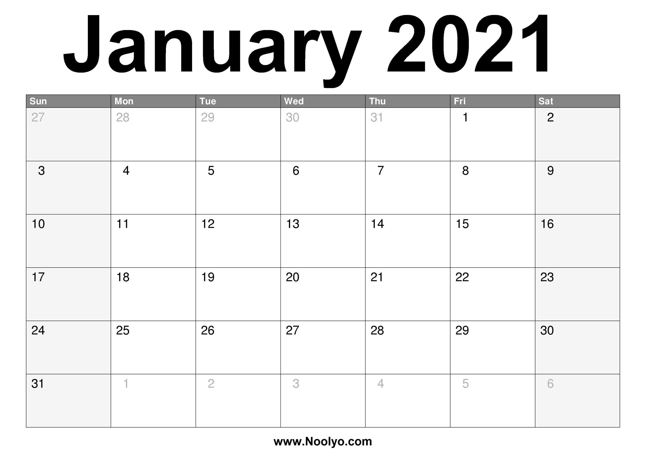 Printable A4 Monthly Calendar 2021   Free 2021 Printable  Free Blank Printable Monthly Calendar 2021
