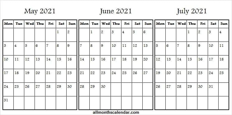 Printable Calendar May To July 2021 - Print Free Blank  May June July With Notes Printable