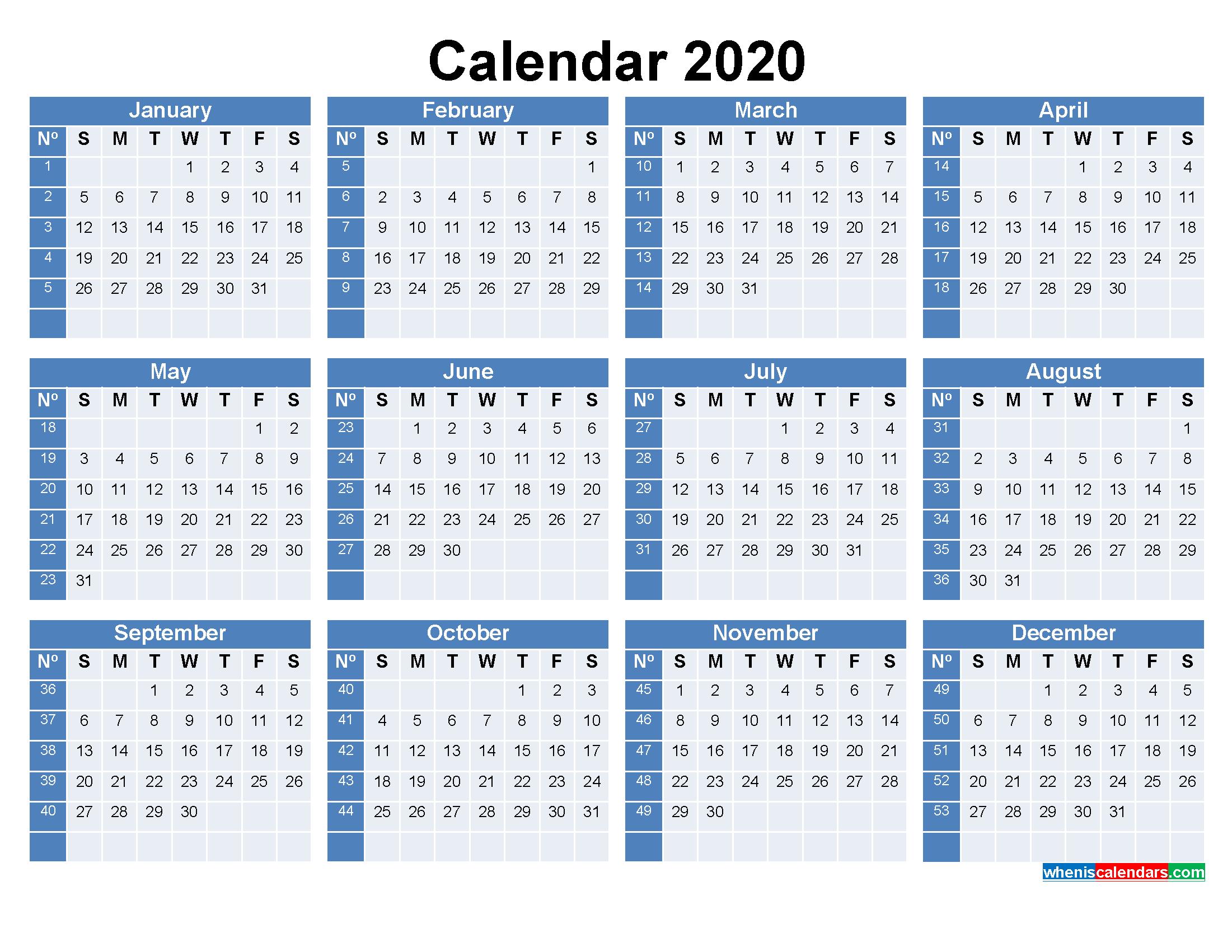 Printable Calendar With Week Numbers 2020 Word, Pdf  Calendar By Week Number Pdf