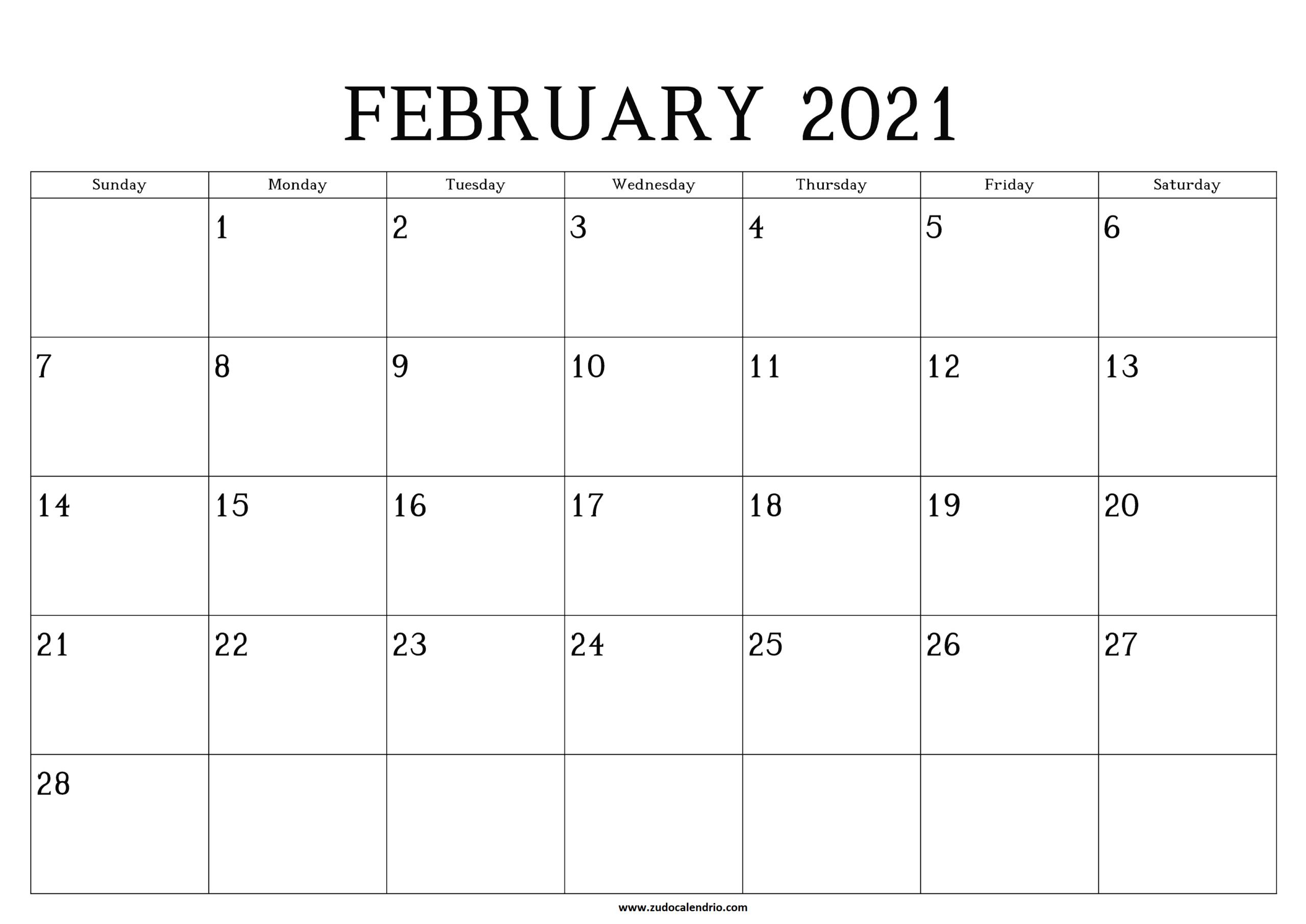 Printable February Calendar 2021   Zudocalendrio  February 2021 Calendar Printable