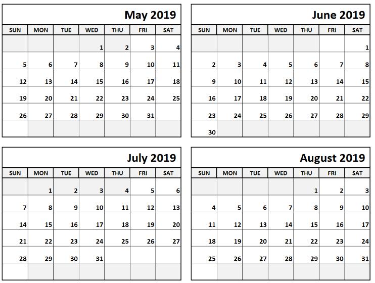Printable May June July August Calendar Template #June #  May June July With Notes Printable