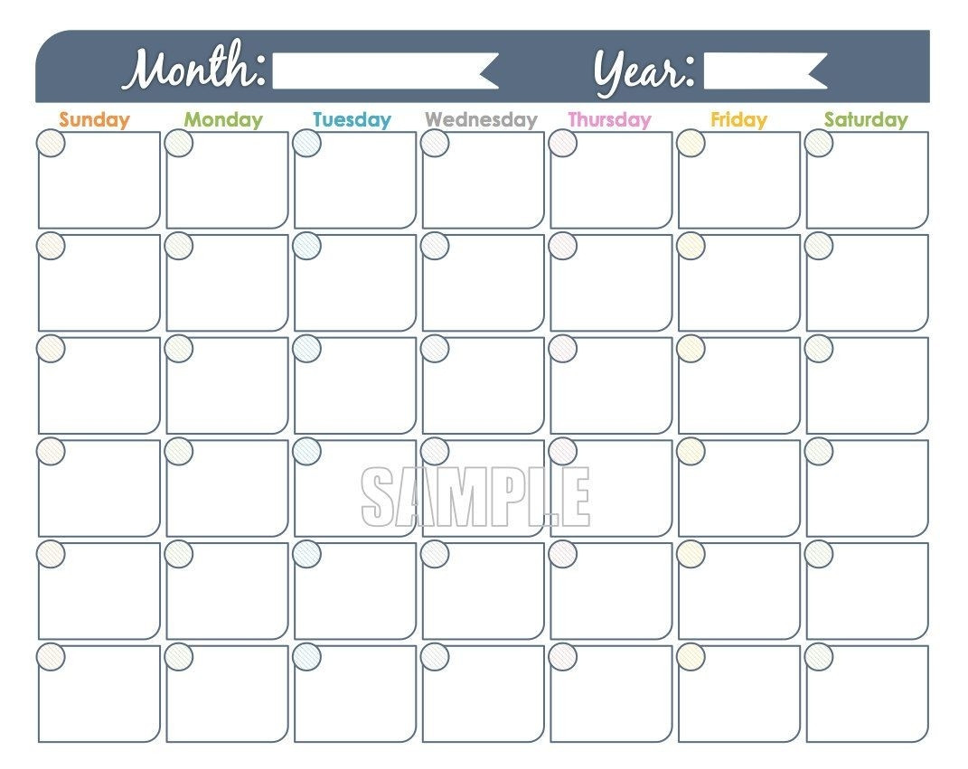 Printable Monthly Calendar That I Can Edit | Calendar  Free Editable Calendar Templates Printable