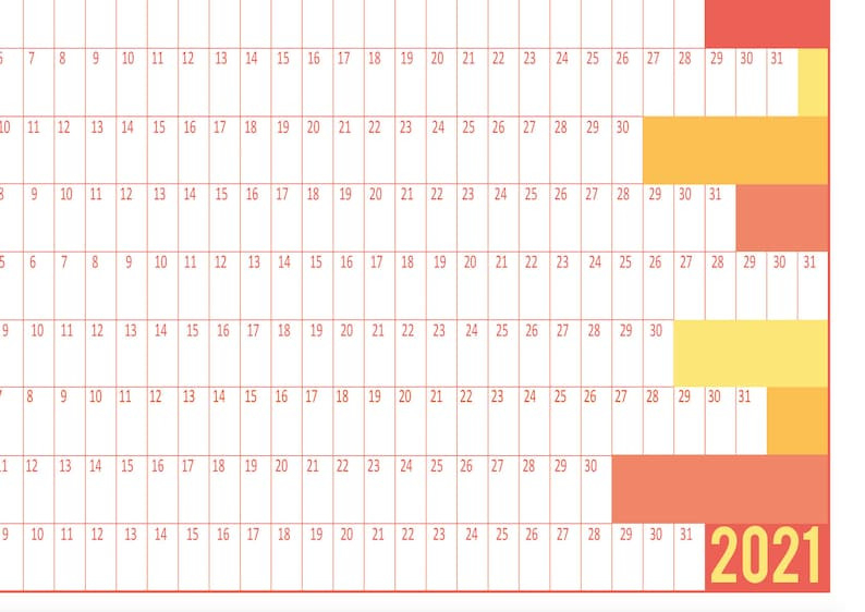 Printable Wall Planner Calendar 2021 In Large Format 8 Pdf  2021 Daily Wall Calendar Free