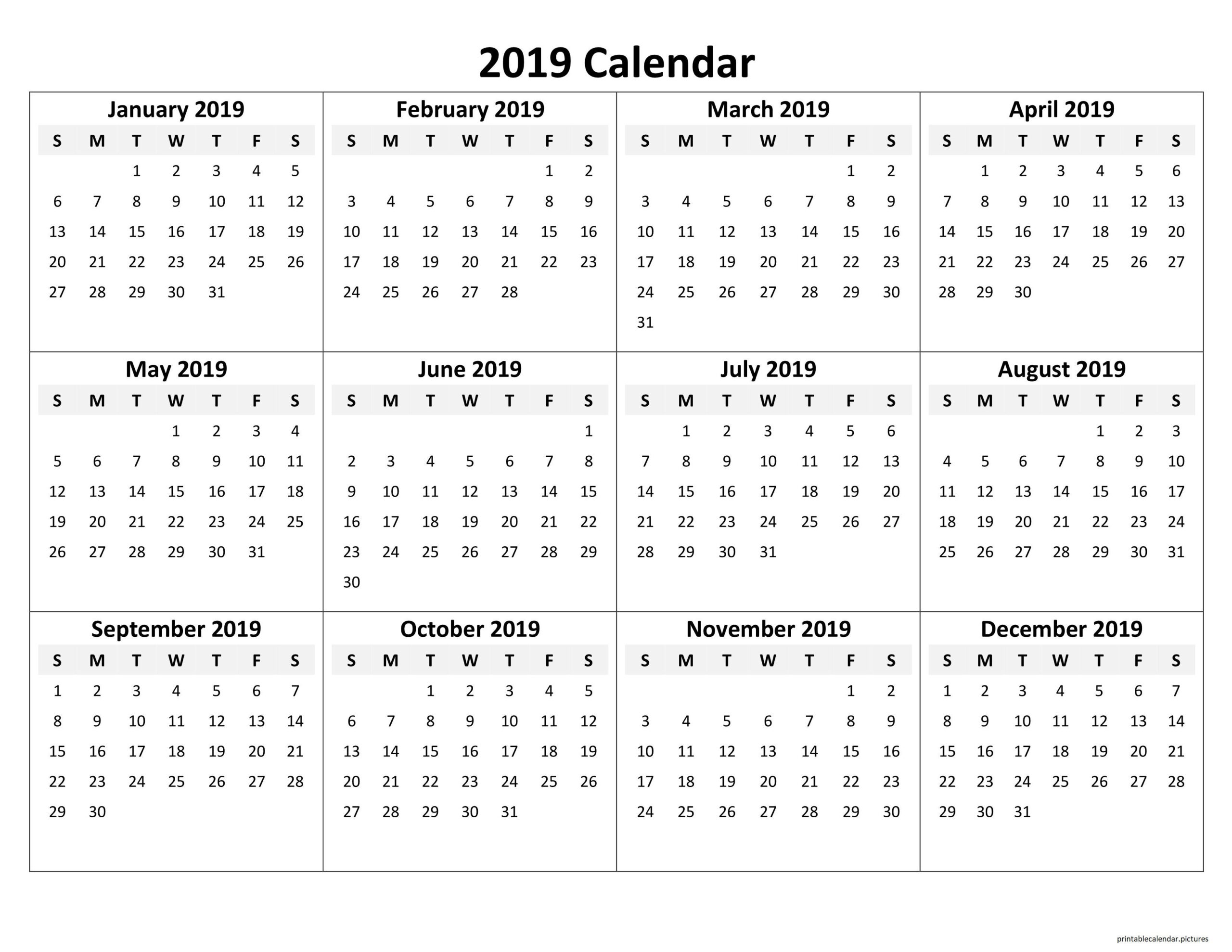 Printable Yearly Calendar 2019 | Yearly Calendar Template  Free Printable One Month Calendar
