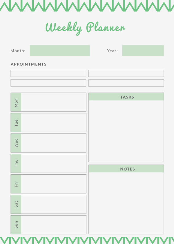 Top 7 Free Weekly Planner Templates Formats   Every Last  Editable 7 Day Planner