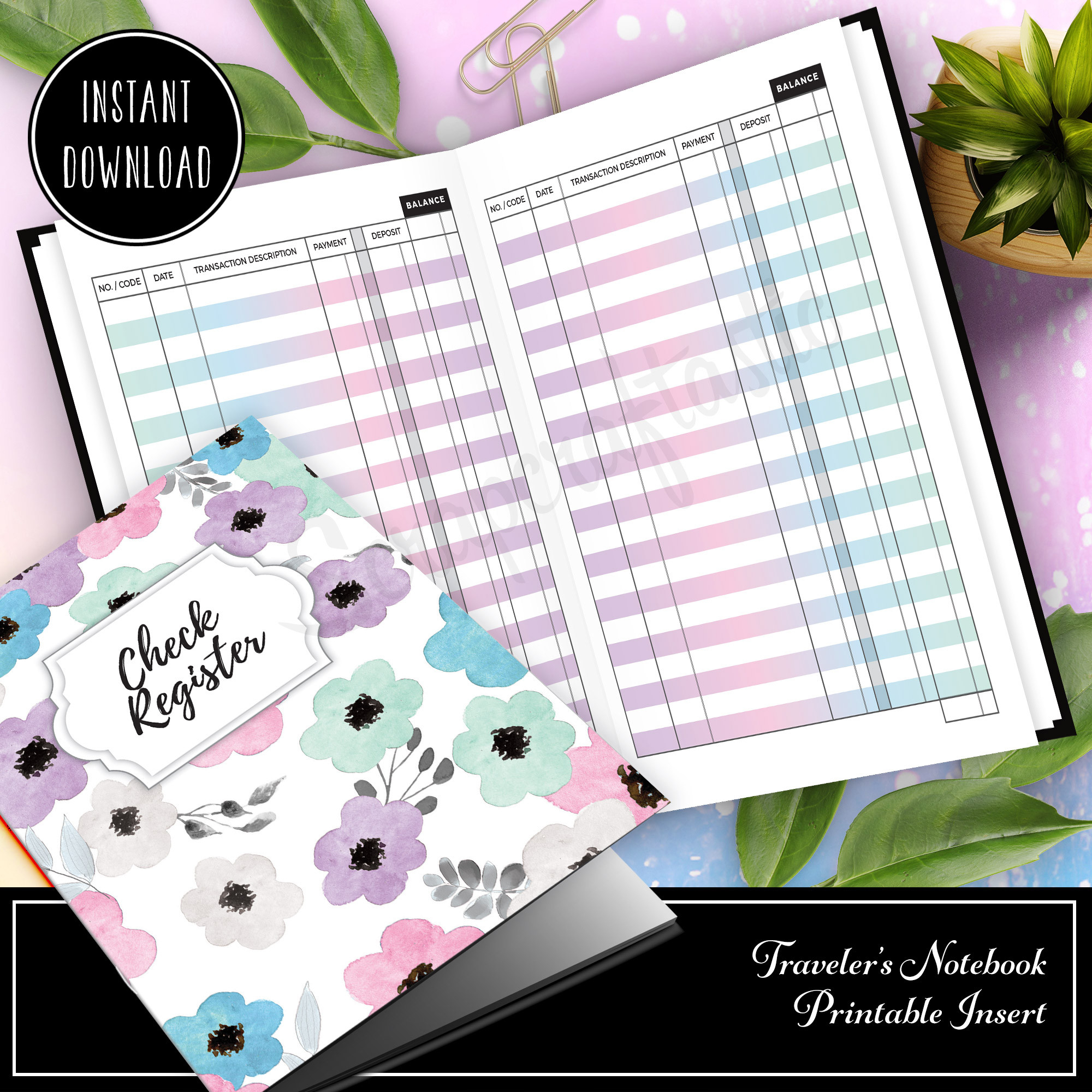 Unicorn Magic Check Register Ring Binder And Traveler'S  Small Printable Calendar Check Register