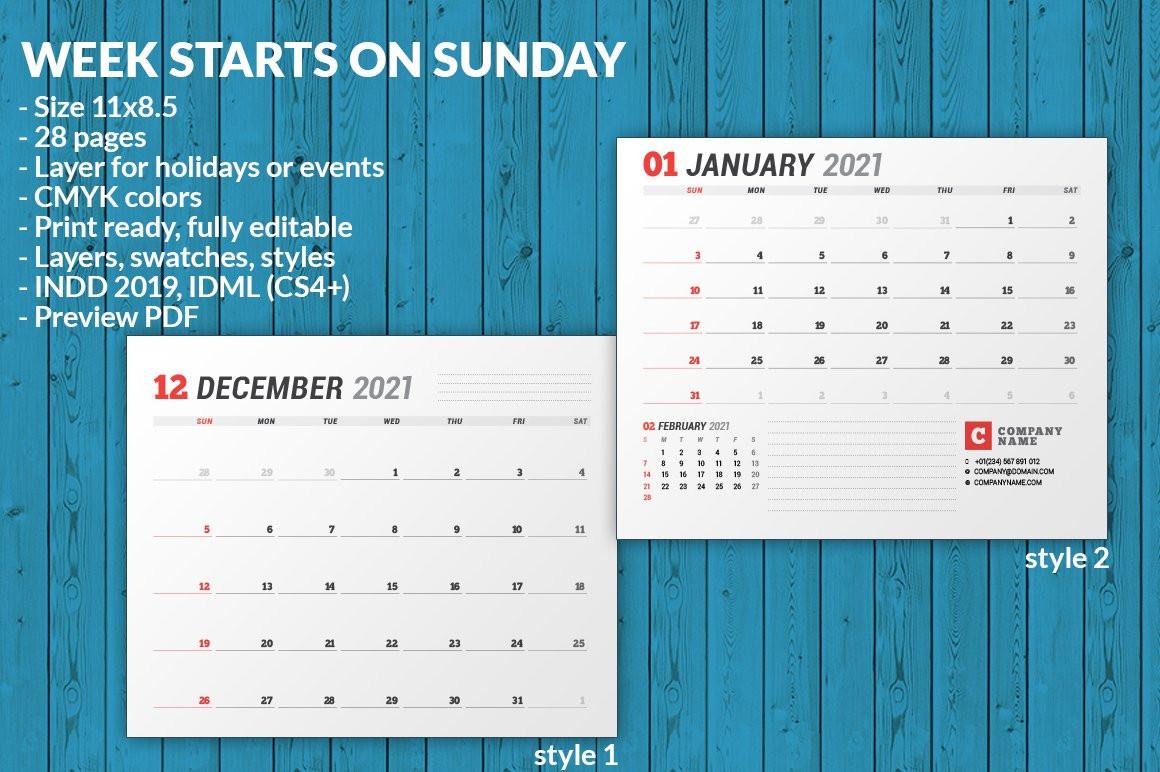 Wall Calendar 2021 (701970) | Brochures | Design Bundles  2021 Daily Wall Calendar Free