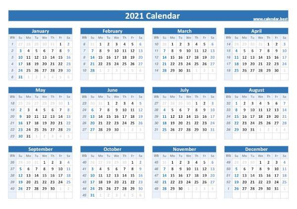 Week Numbers For 2021 : List And Calendar -Calendar.best  Weeknum Calendar