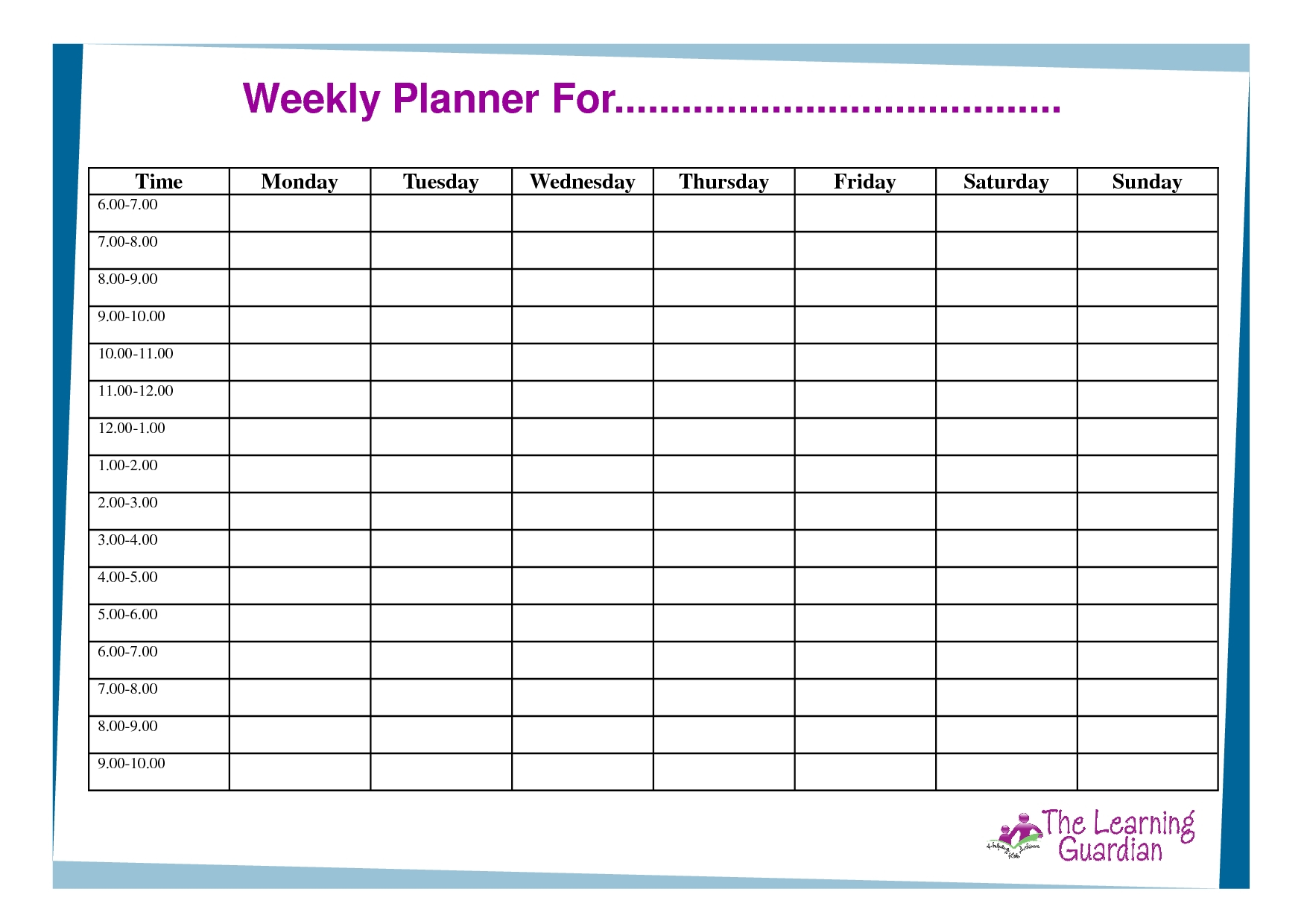 Weekly Planner With Time Slots Word Template - Calendar  Free Excel Calendar Template Time Slots