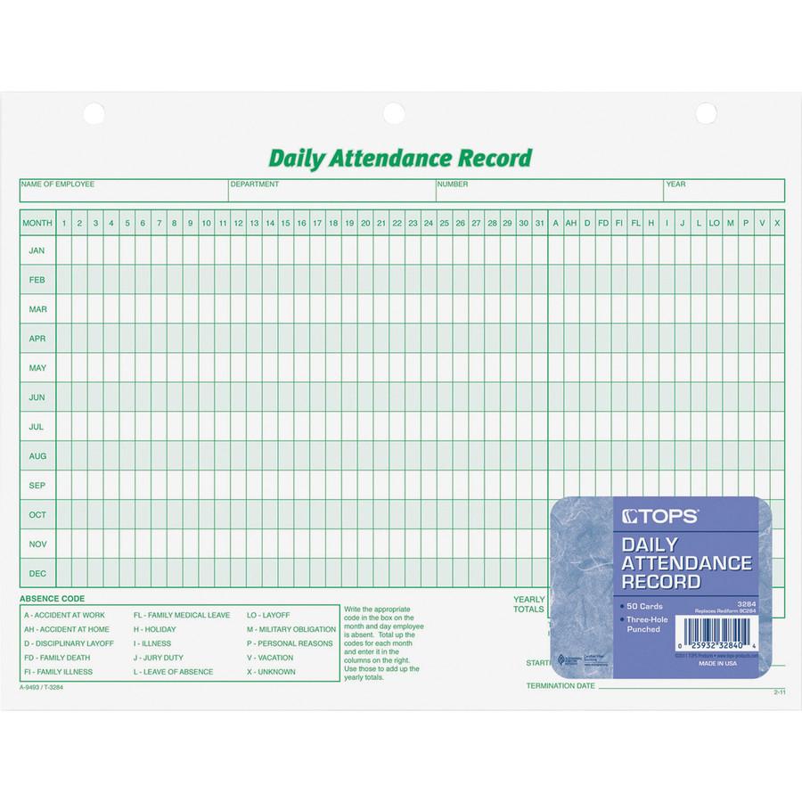 Wholesale Tops Employee Attendance Record Form Top3284 In Bulk  Attendance Log