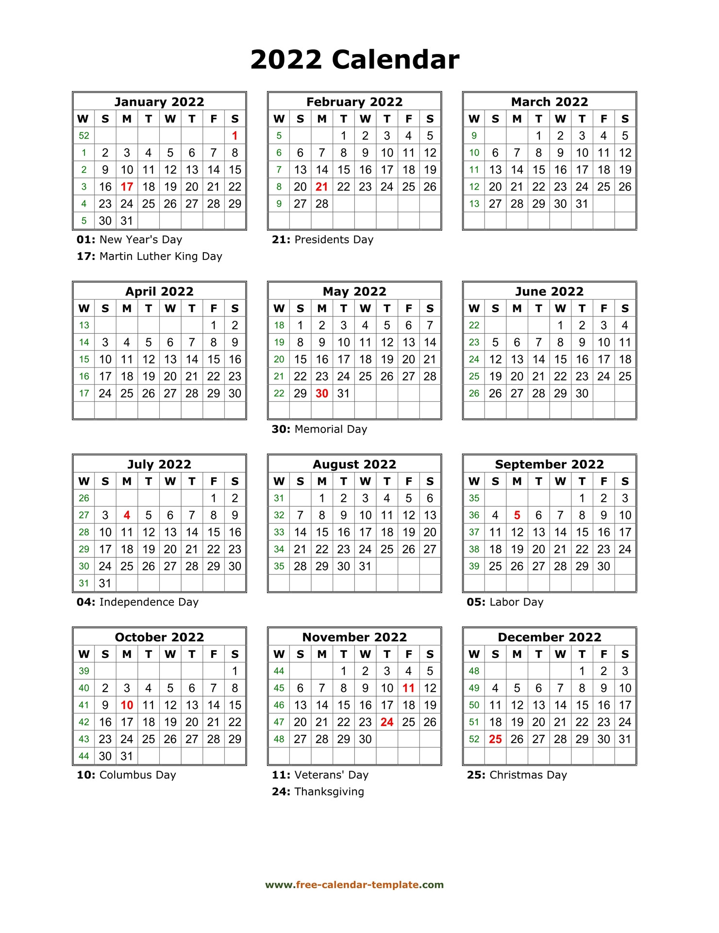 Yearly Printable Calendar 2022 With Holidays | Free  Free Printable One Month Calendar
